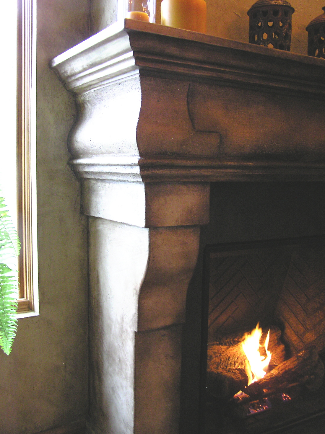 cast limestone fireplace mantelmn